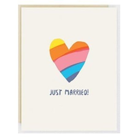 HelloLucky Just Married Rainbow Heart Greeting Card