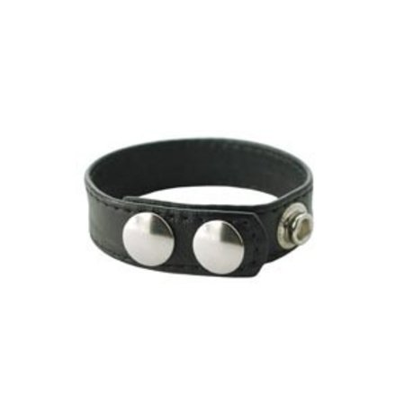 Spartacus Sewn Leather Cock Ring with 3-Snap Closure