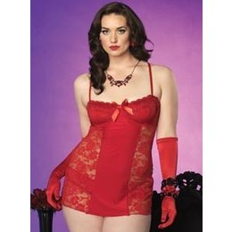 Leg Avenue 2 Piece Red Lace Underwire Chemise 86533Q 1X/2X