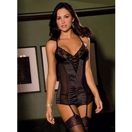 Rene Rofe 2 Piece Stretch Satin & Lace Garter Slip 501185