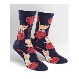 Sock It To Me Kitten Knittin' Crew Socks