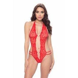 Oh La La Cheri Crotchless Lace Teddy 3182, Red