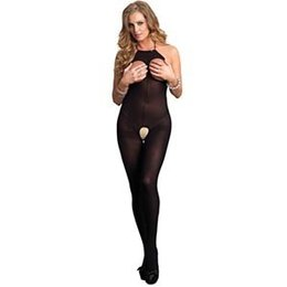 Leg Avenue Halter Opaque Crotchless Open Cup Bodystocking 89171