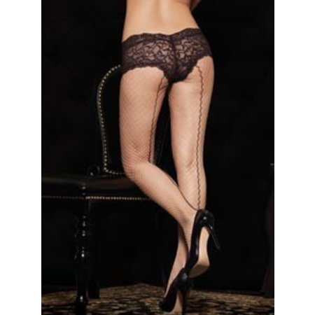 Leg Avenue Industrial Net Pantyhose with Backseam and Boy Short Lace Top 1279