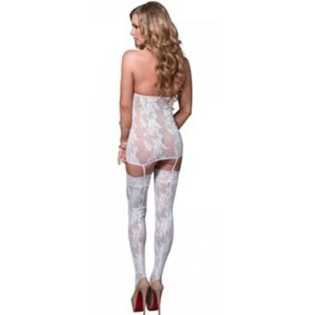 Leg Avenue Lace Cage Strap Suspender Bodystocking 89172, White