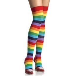 Leg Avenue Rainbow Striped Thigh Highs 6606