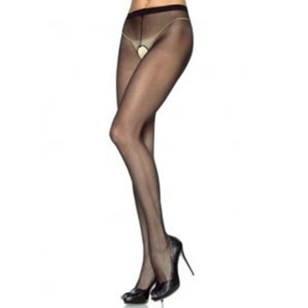 Leg Avenue Sheer Nylon Crotchless Pantyhose 1905, Black