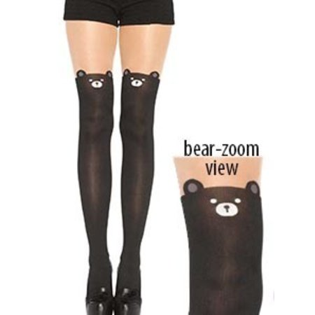 Leg Avenue Spandex Black Bear Opaque Pantyhose 7937
