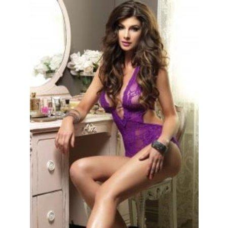 Leg Avenue Stretch Lace Deep-V Halter Teddy 81375, Purple