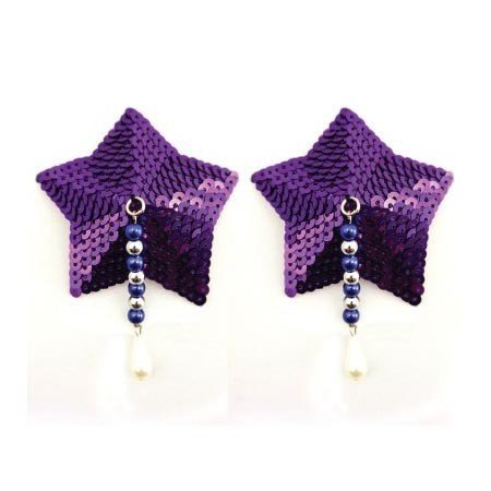 PHS Bijoux de Nip Star Purple Sequin Pasties with Beads