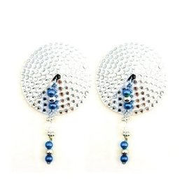 PHS Bijoux de Nip Round Silver Crystal Pasties with Blue Beads