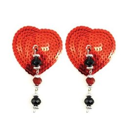 PHS Bijoux de Nip Heart Red Sequin Pasties with Facet Beads