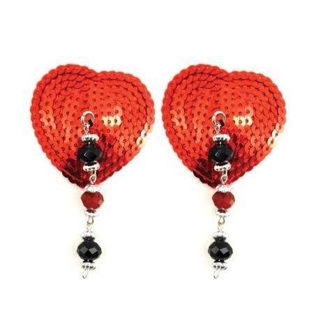 PHS Bijoux de Nip Heart Red Sequin Pasties with Facet Beads