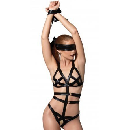 Leg Avenue 3 Piece Bondage Teddy Set KI4017