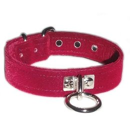 Kookie Velvet O-Ring Collar, Burgundy
