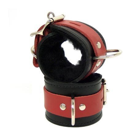 Kookie Fleece-Lined Cuffs, Locking Buckle, Black/Red