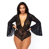 Leg Avenue Stretch Lace Bell Sleeve Bodysuit 89227Q