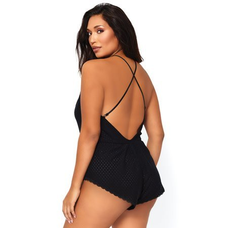 Leg Avenue Lace Up Eyelet Romper with Swirl Lace Accents SE8888
