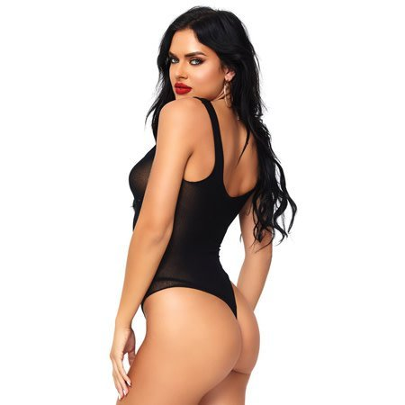 Leg Avenue Opaque Lace Up Thong Teddy 81555