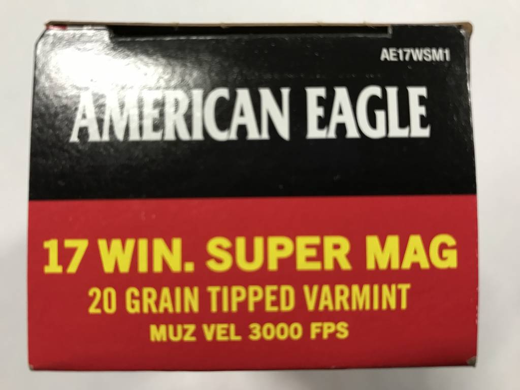 Federal 17 wsm 20 gr tipped A.E.
