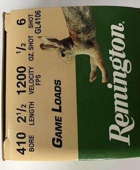 Remington 410 gauge 2 1/2 #6 1200 fps