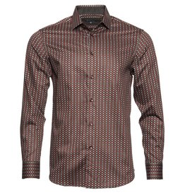 Polifroni BLU Black & Burnt Semi-Fitted Shirt by Polifroni BLU