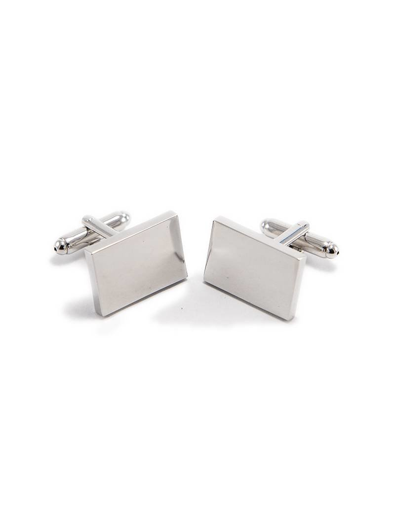 Simple Silver Colour Cufflink by Match