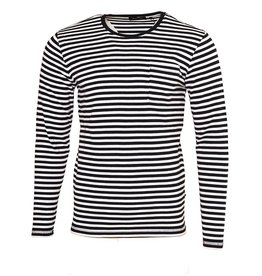 Matinique Claude Long Sleeve Stripped Navy Tee (30201756-L/S)
