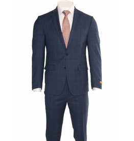 Tallia Tallia Modern Blue Window Pane Suit (SJX0778)