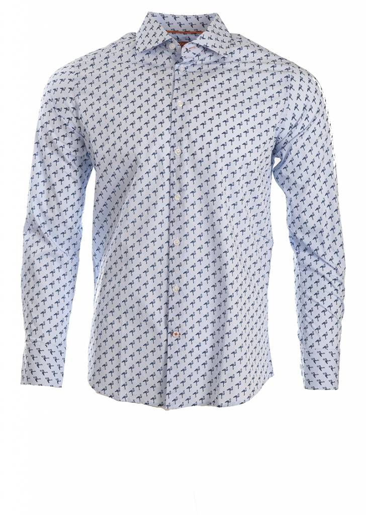 Tallia Tallia - Blue Flamingo Shirt - T8071D