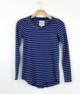 Chaser Brand Chaser Brand Striped Knit Shirttail Crew Neck Tee