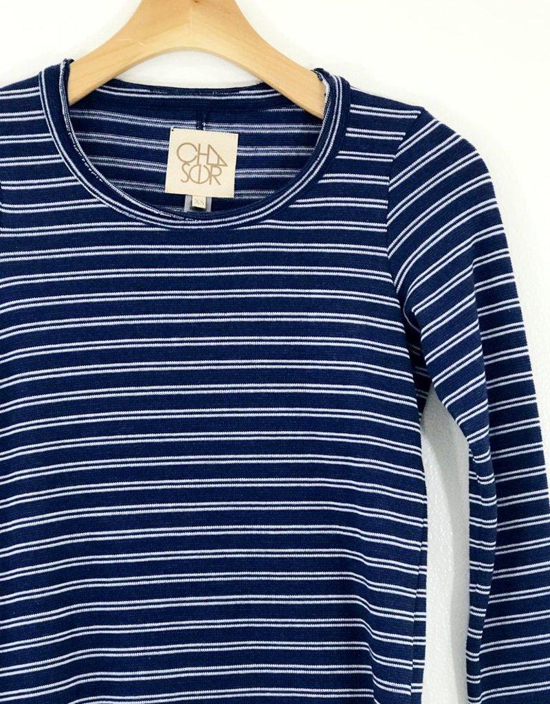 Chaser Brand Chaser Brand Striped Knit Shirttail Crew Neck Tee