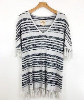 Chaser Brand Chaser Brand Fringed V Neck Sweater Dress