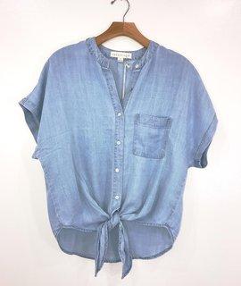 Love Stitch Mandarin Collar Button Down Tencel Top w/ Tie
