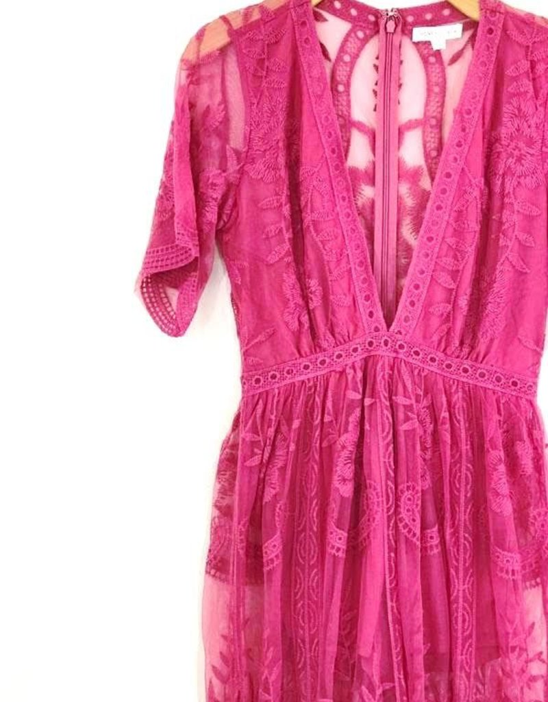 Honey Punch Lace Romper Maxi Dress