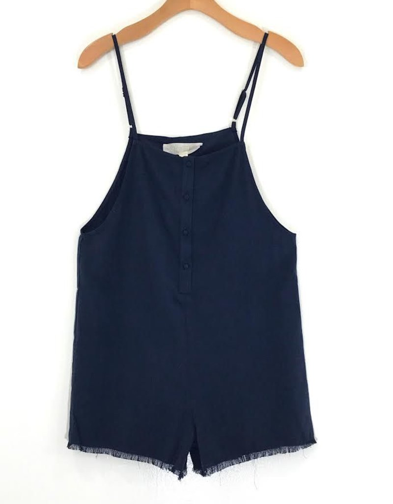 Honey Punch Honey Punch Frayed Linen Spagetti Strap Overall