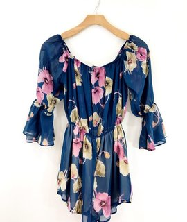 Audrey 3+1 Audrey 3+1 Floral Chiffon Off the Shoulder Romper