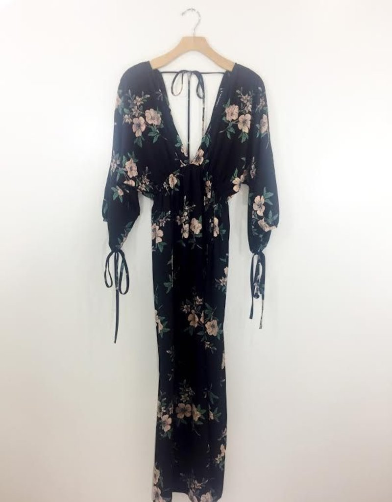 Audrey 3+1 My Flower in the Dark Maxi Kimono Dress