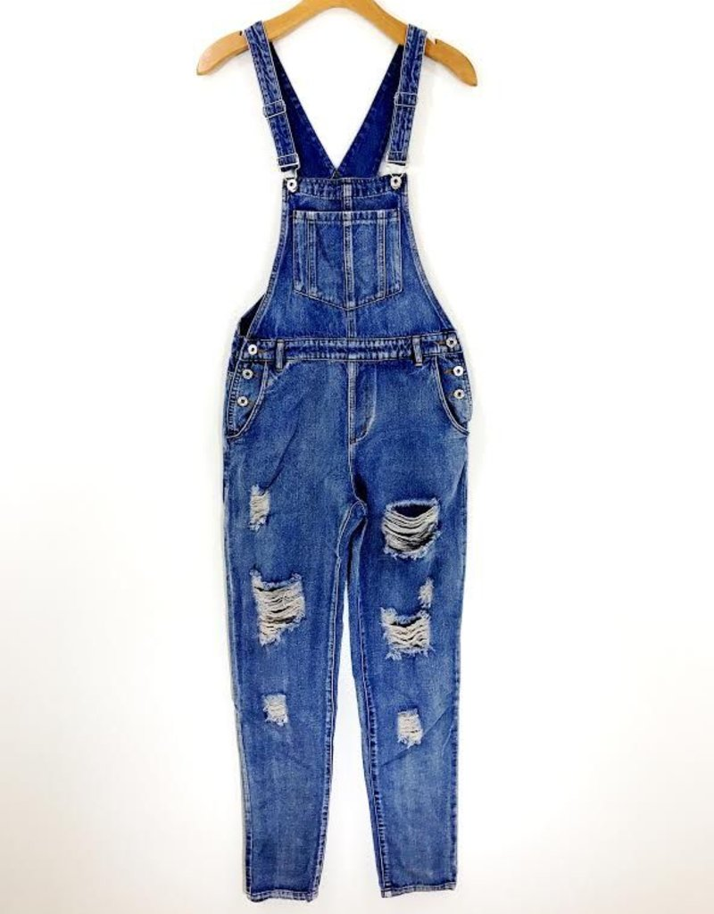 Honey Punch Honey Punch Ripped Denim Overalls