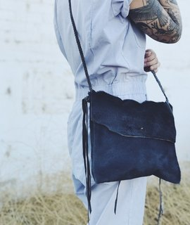 Wild Wanderer Design Wild Wanderer Design Blue Grey Hair on Hide Crossbody Bag w/ Pocket