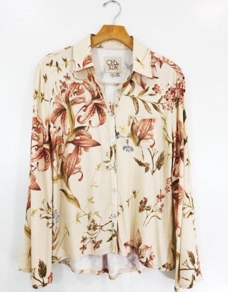 Chaser Brand Chaser Brand Heirloom Woven Bell Sleeve Button Up Shirt