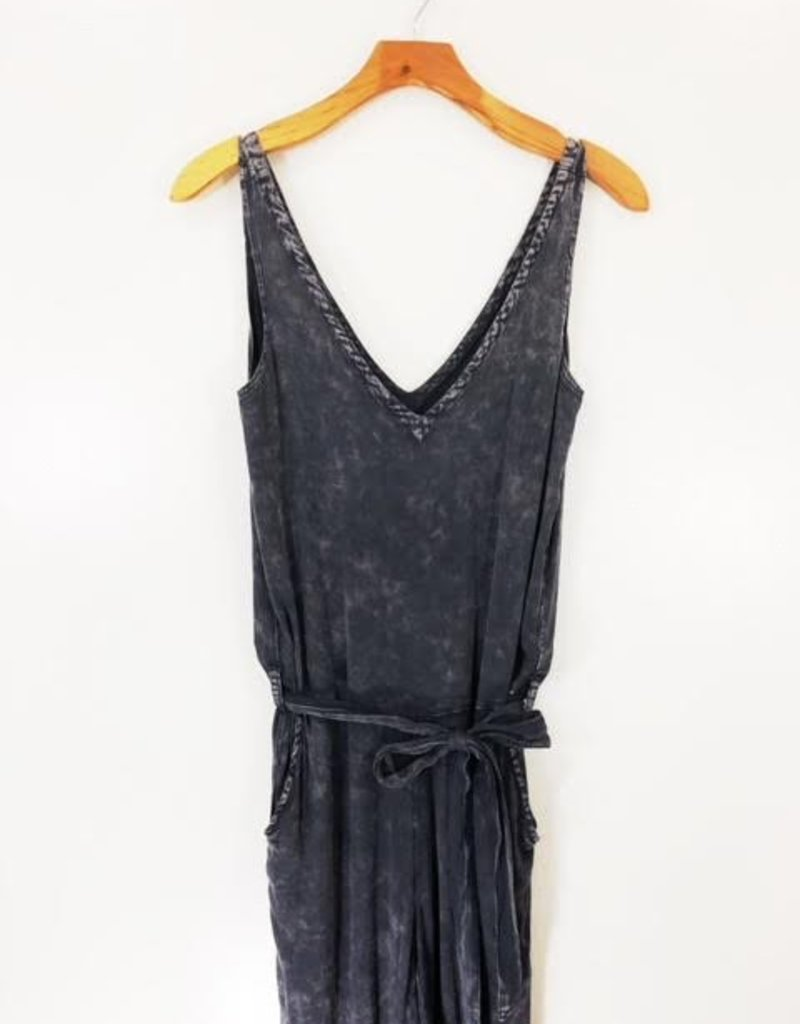 Chaser Brand Chaser Double V Tank Tie Waist Jumpsuit