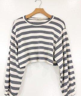 Audrey 3+1 Audrey 3+1 Stripe Knit Crop Top Sweater