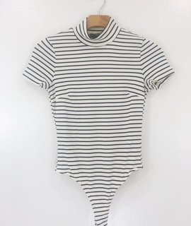 Audrey 3+1 Audrey 3 + 1 Striped Highneck Bodysuit