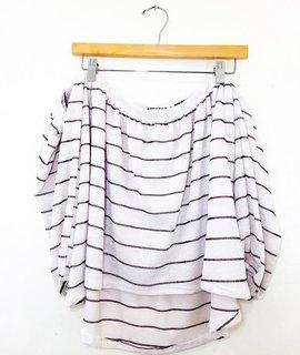 Audrey 3+1 Audrey 3+1 Knit Stripe Off Shoulder Bubble Sleeve Top