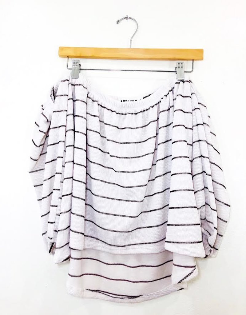 a8236691616 Audrey 3+1 Audrey 3+1 Knit Stripe Off Shoulder Bubble Sleeve Top - Faking  It Flawless Boutique