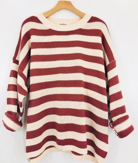 Listicle Striped Knit Pullover Sweater