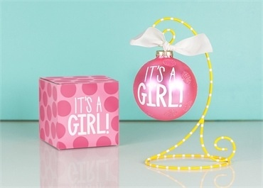 Ornament It's A Girl Large Dot Glass Ornament