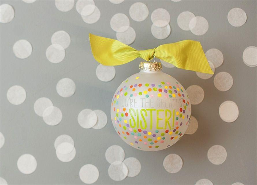 You're the Greatest Sister Bright Confetti Glass Ornament