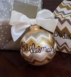 Metallic Bargello Bridesmaid Glass Ornament
